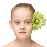 Kids beauty portrait. Beauty portrait of a young girl isolated on white background Stock Photo
