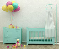 Kids bed room mint interior 3d rendering image Royalty Free Stock Image
