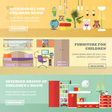 Kids bedroom interior banners in flat style. Vector illustration. House room design elements and icons Stock Photos