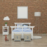 Kids bedroom interior 3d rendering image Royalty Free Stock Photography