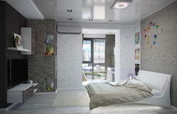 Kids bedroom interior design, 3D render Stock Photo