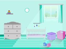 Kids bedroom interior. Vector illustration stock illustration