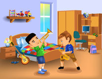 Kids bedroom with two boys playing instruments Stock Image
