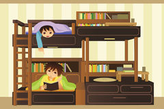 Kids in the bedroom. A vector illustration of kids playing in their bedroom Royalty Free Stock Images