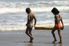 Kids on the beech. (5-10 years), Pacific Coast, Ecuador Stock Photography