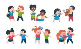 Kids behavior. Cartoon brother and sister fight cray play, cute little boy girl happy characters. Vector funny best