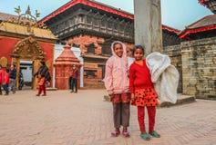 Kids in Bhaktapur, Nepal Royalty Free Stock Photos