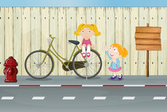 Kids, a bicycle, a fire hydrant and a notice board. Illustration of kids, a bicycle, a fire hydrant and a notice board on a roadside Royalty Free Stock Photo