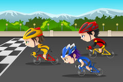 Kids in a bicycle race. A vector illustration of happy kids in a bicycle race vector illustration