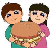 Kids big burger Royalty Free Stock Photos