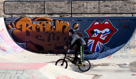 Sherwood Park, Alberta, Canada. Boy on bike in Sherwood Park bike park in Alberta, Canada stock photography