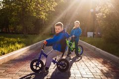 Kids on bikes in the spring. Kids on bikes back in sunset light in the spring royalty free stock photo