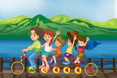 Kids biking at the bridge stock illustration