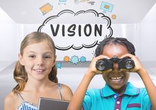 Kids with binoculars with blank room background and vision text graphics. Digital composite of kids with binoculars with blank room background and vision text Stock Photos