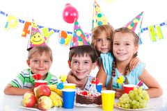 Kids with birthday cake Stock Photo