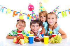 Kids with birthday cake Royalty Free Stock Image