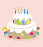 Kids and birthday cakekids and birthday cake Royalty Free Stock Photo