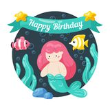 Kids birthday card with cute little mermaid and marine life in doodle styte. Kawaii characters mernaid, sea fish, seaweed stock illustration