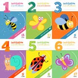 Kids birthday invitation cards with cute bugs insects vector set Stock Photos