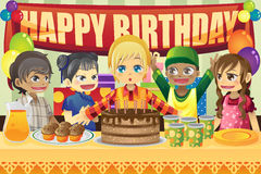 Kids birthday party. A vector illustration of multi-ethnic kids in a birthday party Royalty Free Stock Photography