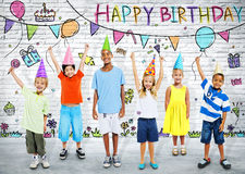 Kids on the Birthday Party Royalty Free Stock Image