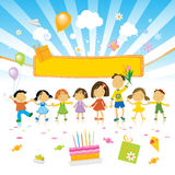 Kids birthday party. Group of kids celebrating, birthday cake and party banner Stock Photography