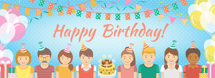Kids Birthday Party Background. Modern flat colorful vector birthday party banner with group of kids in festive caps and balloons, garlands, flags, streamers Stock Image
