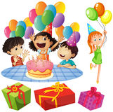 Kids at birthday party with balloons and presents Stock Images