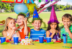Kids at Birthday Party Royalty Free Stock Photography
