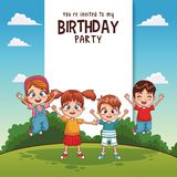 Kids birthday party card invitation. Vector illustration graphic design Stock Photos