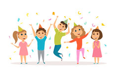 Kids birthday party. Children celebrate. Friends in hat dancing, jumping and laughing together. Group of happy girl and boy have fun. Cartoon preschoolers Royalty Free Stock Image