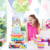 Kids birthday party. Little girl with cake. Stock Photos