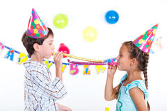 Kids at birthday party Stock Photos