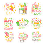 Kids Birthday Party Entertainment Promo Signs Series Of Colorful Vector Design Templates With Festive Symbols. Children Holidays Fun Celebration Labels In Flat Royalty Free Stock Photo