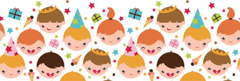 Kids At A Birthday Party Horizontal Seamless Stock Photography