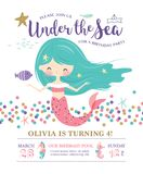 Kids under the sea birthday party invitation card. Kids birthday party invitation card with cute little mermaid and marine life royalty free illustration