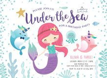 Kids under the sea birthday party invitation card stock illustration