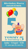 Kids birthday party invitation card vector illustration. Kids birthday party invitation card with funny elephant. Vector illustration Royalty Free Stock Images