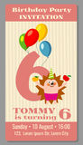 Kids birthday party invitation card vector illustration. Kids birthday party invitation card with funny hedgehog. Vector illustration Stock Photography