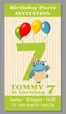 Kids birthday party invitation card vector illustration Stock Photography