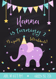Kids Birthday Party Invitation with Garlands and Baby Elephant on Chalkboard Background Royalty Free Stock Images