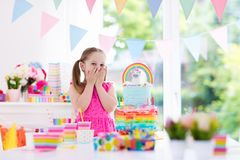 Free Kids Birthday Party. Little Girl With Cake. Stock Photos - 102628693
