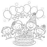 Kids Birthday Party Outline Stock Photos