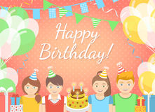 Kids Birthday Party Pink Background. Modern flat colorful vector birthday party background with group of kids in festive caps and balloons, garlands, flags Stock Image