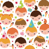 Kids at a birthday party seamless pattern. Vector kids at a birthday party seamless pattern background with hand drawn elements Stock Photos