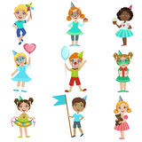 Kids On Birthday Party Set Royalty Free Stock Images