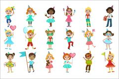 Kids On Birthday Party Set. Of Bright Color Isolated Vector Drawings In Simple Cartoon Design On White Background vector illustration