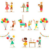 Kids Birthday Party Set Of Scenes Royalty Free Stock Image