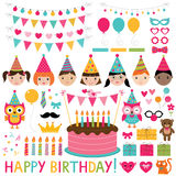 Kids birthday party set Royalty Free Stock Photography