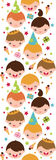 Kids at a birthday party vertical seamless pattern Stock Images